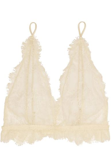 Anine Bing Lace Soft-Cup Bra In White