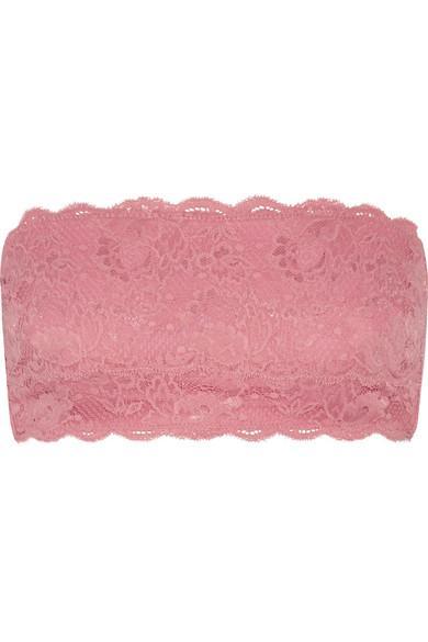 Cosabella Flirtie Stretch Cotton-Blend Lace Bandeau Bra In Pink