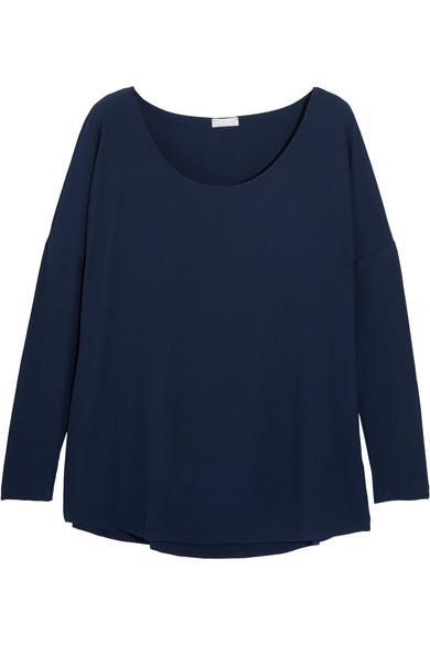 Hanro HÉLÈNe Ribbed Stretch-Modal Jersey Top In Midnight Blue
