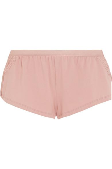 Cosabella Lace-Paneled Cotton-Blend Shorts In Antique Rose