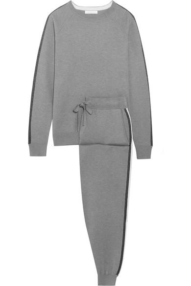 Olivia Von Halle Missy London Striped Silk And Cashmere-Blend Sweatshirt And Track Pants Set In Gray