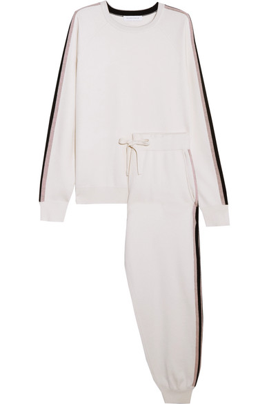 Olivia Von Halle Moscow Striped Silk And Cashmere-Blend Sweatshirt And Track Pants Set In Ivory