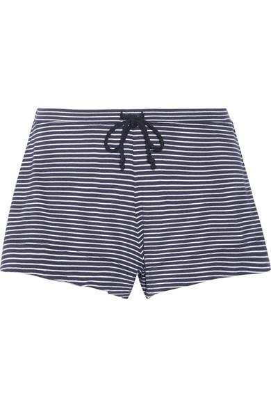 Skin Striped Pima Cotton And Modal-Blend Pajama Shorts In Midnight Blue