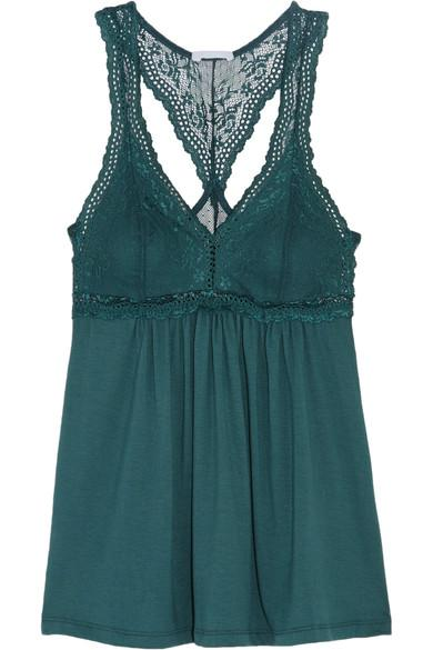 Eberjey Colette Lace And Stretch-Modal Jersey Pajama Top In Dark Green