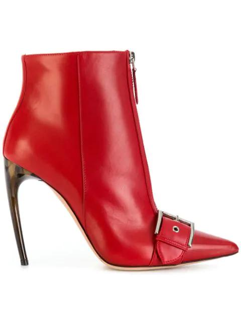 Alexander Mcqueen Buckle And Zip Front Horn Heel Boots In Red