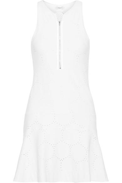 L'Etoile Sport Mesh-Paneled Stretch Pointelle-Knit Tennis Dress In White