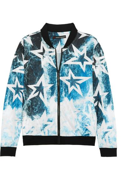 Perfect Moment Printed Mesh Jacket In Blue