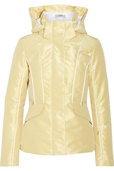 Fendi Roma Metallic Padded Ski Jacket In Gold