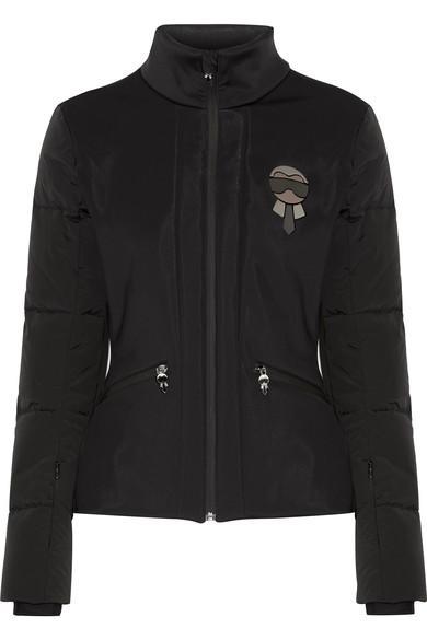 Fendi Karlito Embellished Quilted Down Ski Jacket In Black