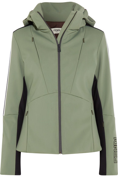 Fendi Hooded Printed Ski Jacket In Green