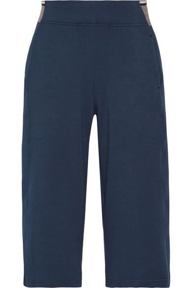 Lndr Wander Cropped Cotton-Blend Jersey Wide-Leg Pants In Navy