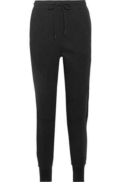 Nike Tech Fleece Cotton-Blend Jersey Track Pants In Black