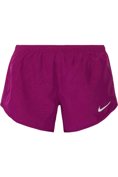 Nike Dry Tempo Mesh-Trimmed Printed Shell Shorts In Plum