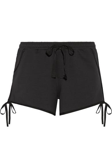 The Upside Bowie Bow-Embellished Cotton-Blend Jersey Shorts In Black