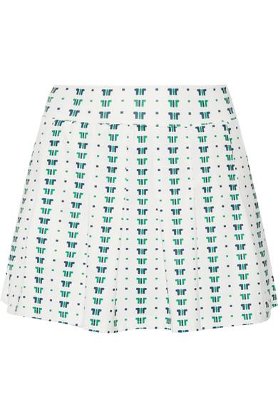 Tory Sport Pleated Printed Stretch Tennis Skirt In White