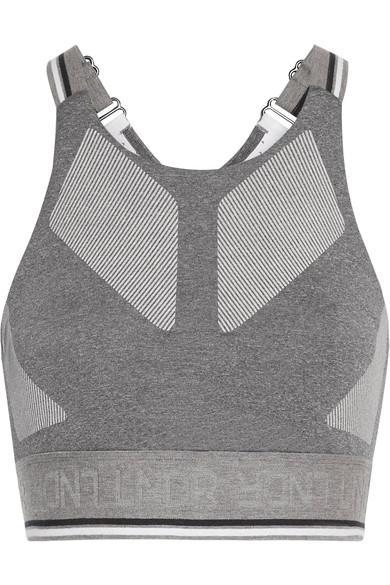 Lndr Glide Mesh-Trimmed Stretch-Knit Sports Bra In Gray