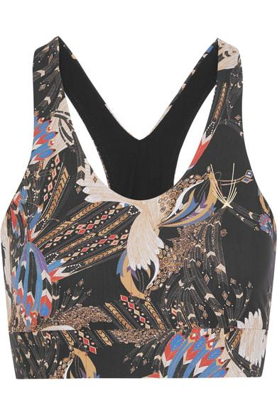 Lucas Hugh Erte Printed Stretch Sports Bra In Black