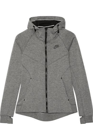 Nike Tech Fleece Cotton-Blend Jersey Hooded Top In Gray