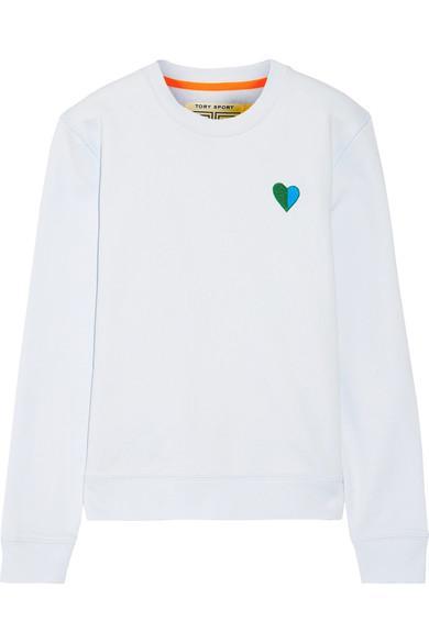 Tory Sport AppliquÉD French Cotton-Terry Sweatshirt In Sky Blue