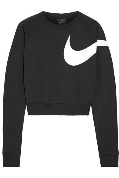 Nike Versa Dri-Fit Cropped Printed Jersey Sweatshirt