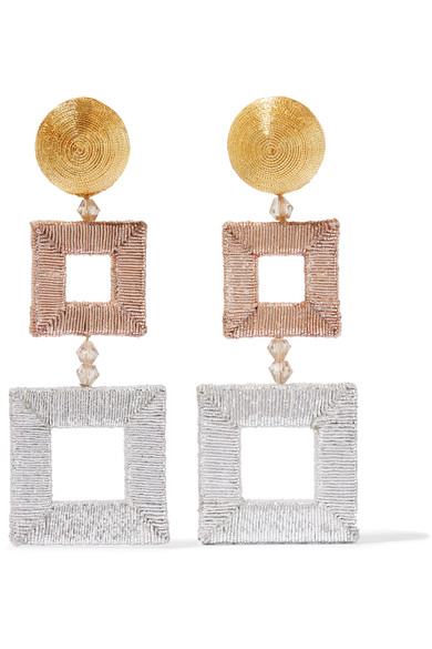 Oscar De La Renta Beaded Silk Clip Earrings