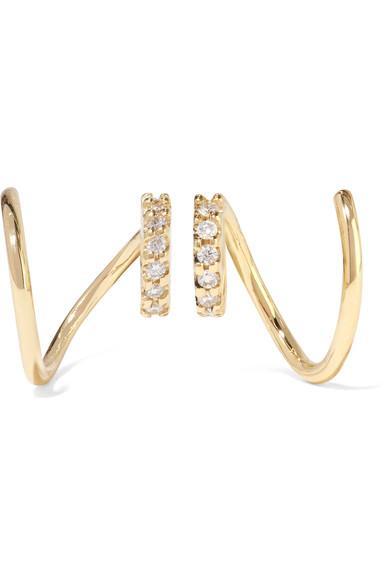 Maria Black Lila Rose Twirl 14-Karat Rose Gold, Diamond And Sapphire Earrings