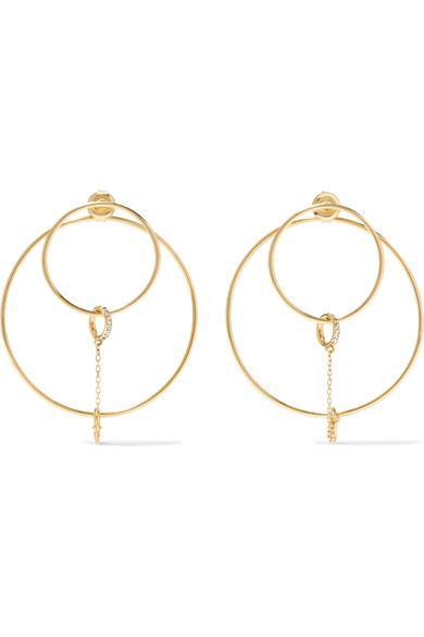 Foundrae Orbit 18-Karat Gold Diamond Earrings