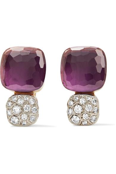Pomellato Nudo Solitaire 18-Karat Rose Gold, Amethyst And Diamond Earrings