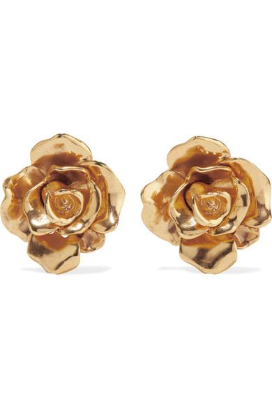 Oscar De La Renta Rosette Gold-Tone Clip Earrings