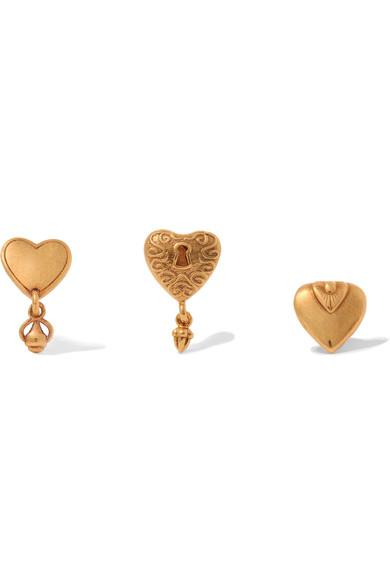 ChloÉ Collected Hearts Set Of Three Earrings In Gold