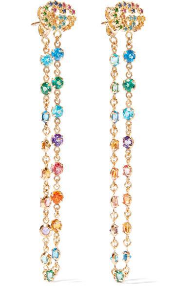 Gucci 18-Karat Gold Multi-Stone Earrings In Usd