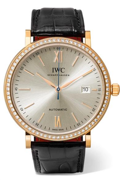 Iwc Schaffhausen Portofino Automatic 40 Alligator, 18-Karat Red Gold And Diamond Watch In Rose Gold