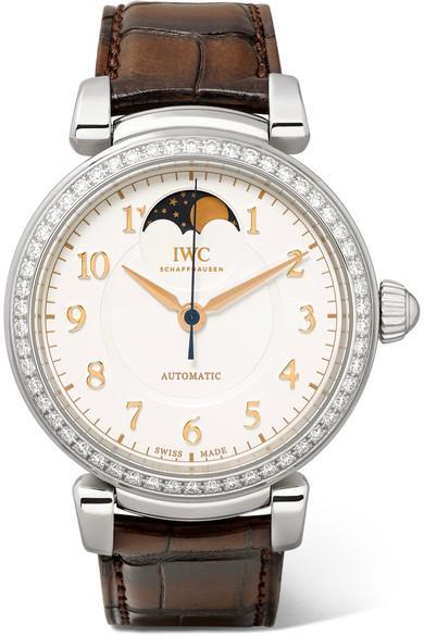 Iwc Schaffhausen Da Vinci Automatic Moon Phase 36 Alligator, Stainless Steel And Diamond Watch In Silver