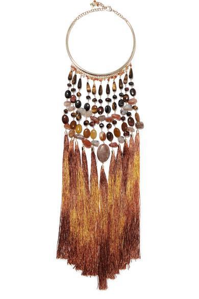 Rosantica Rum Tasseled Gold-Tone Beaded Necklace In Brown