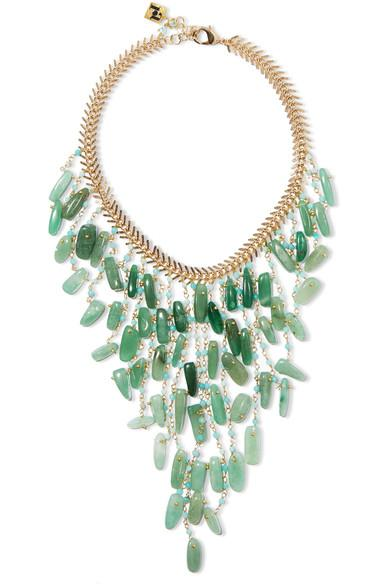 Rosantica Lisca Beaded Gold-Tone Necklace In Green