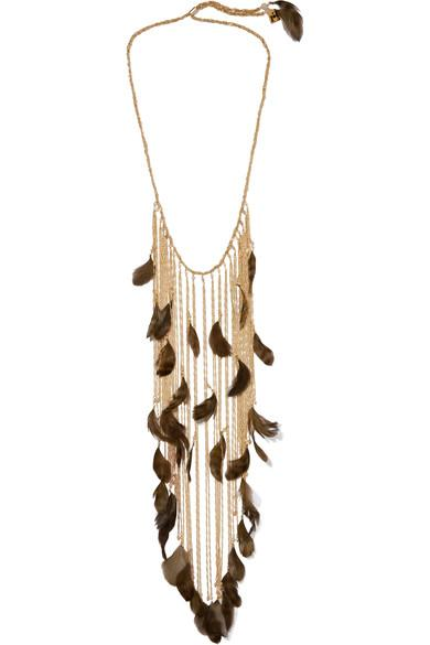 Rosantica Selva Gold-Tone, Feather And Bead Necklace