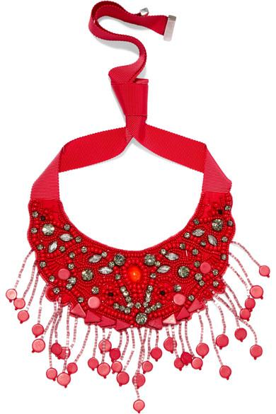 Etro Grosgrain And Bead Necklace
