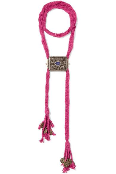 Etro Silk, Burnished Gold-Tone And Stone Necklace In Bubblegum