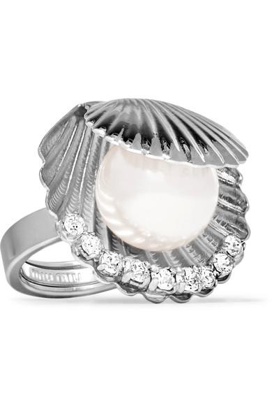 Miu Miu Silver-Tone, Faux Pearl And Crystal Ring In Cream+Cristal