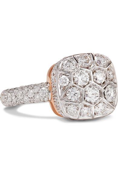 Pomellato Nudo Solitaire 18-Karat White Gold, Rose Gold And Diamond Ring