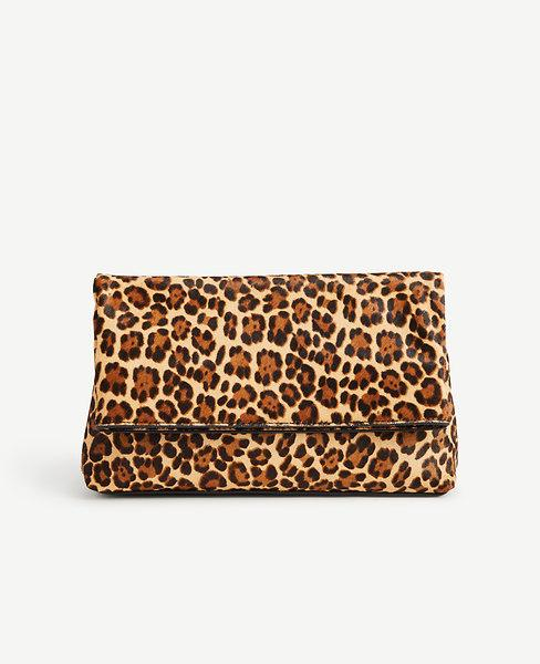 Ann Taylor Leopard Print Haircalf Foldover Clutch In Black Multi