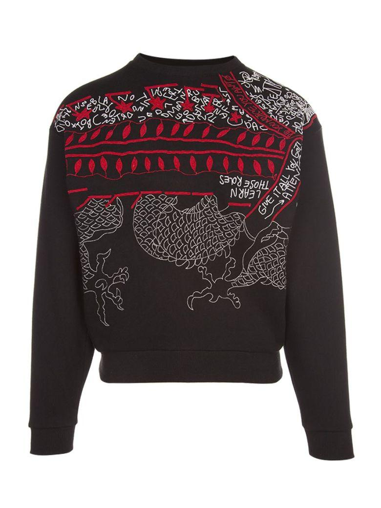 Amen Embroidered Cotton Sweatshirt In Nero