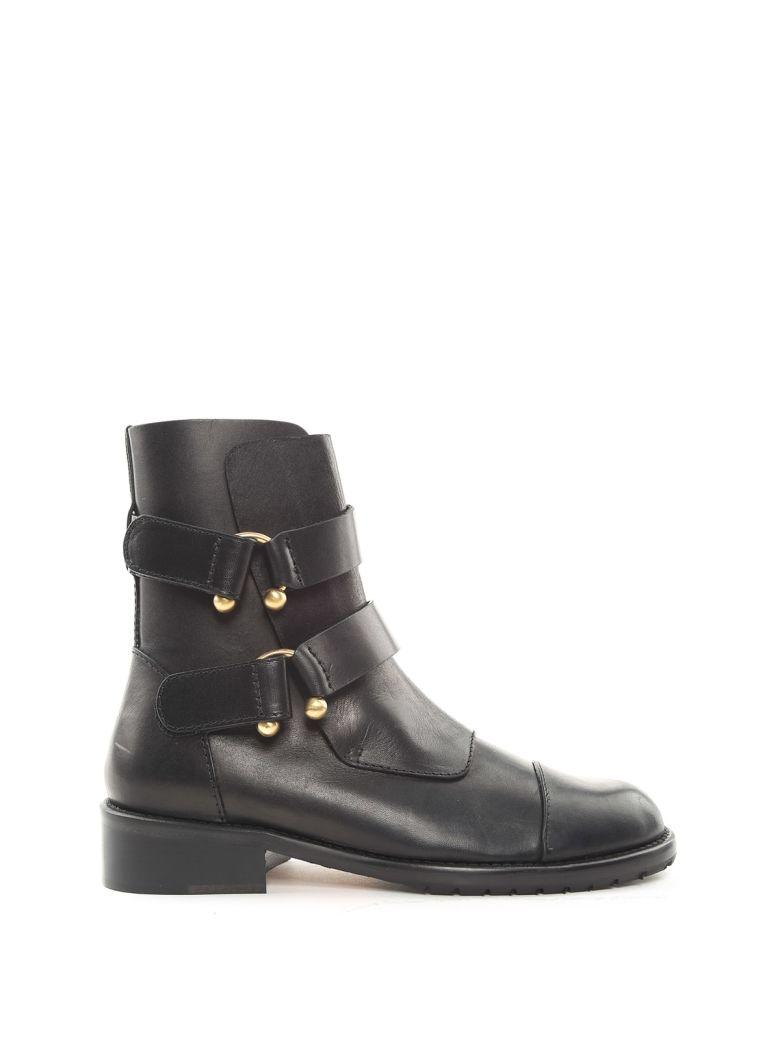 Red Valentino Piercing Double-Buckle Leather Boots In Nero