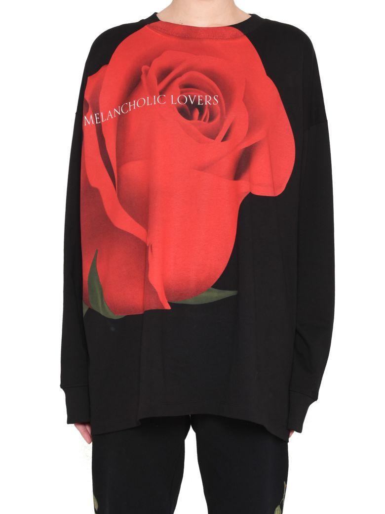 Marcelo Burlon County Of Milan Prinetd Cotton Jersey Sweater In Black