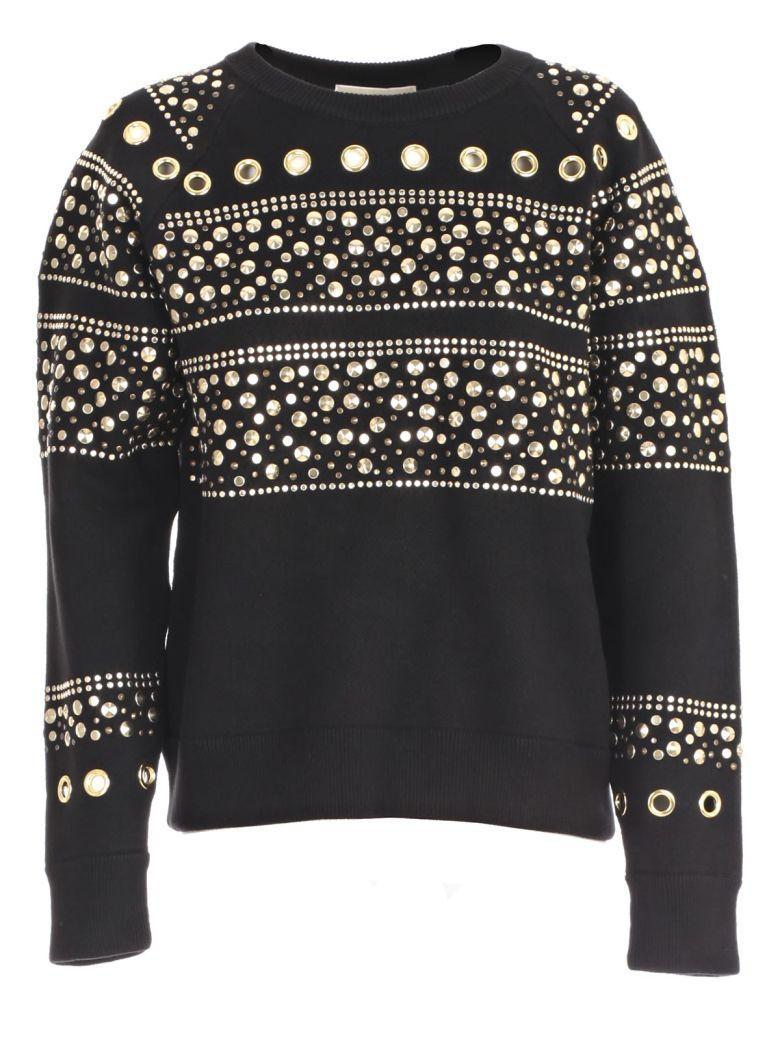Michael Michael Kors Studded Sweatshirt In Black Gold