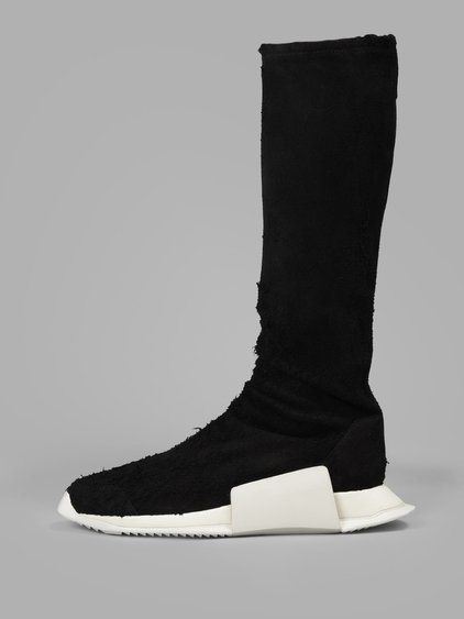 Rick Owens Women's Black Suede Level Sock Runner Sneakers