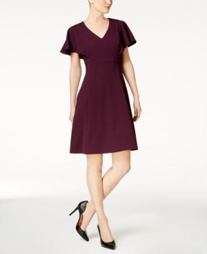 Calvin Klein Petite Flutter-Sleeve A-Line Dress In Aubergine