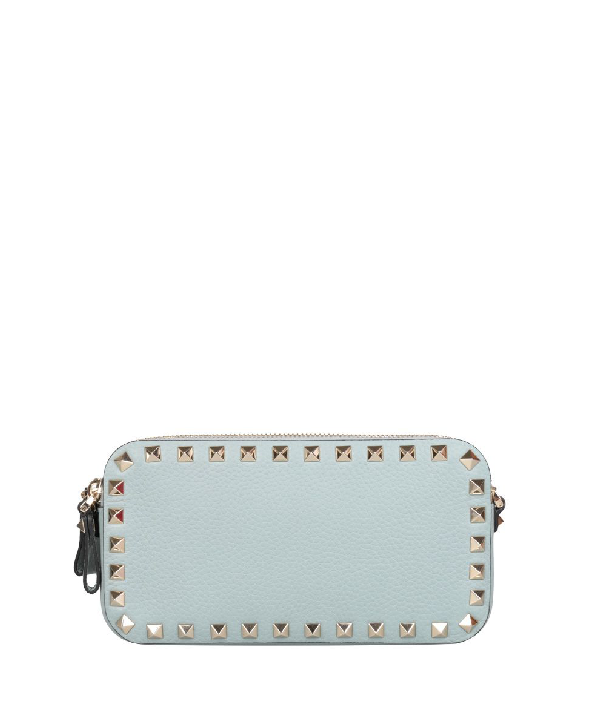 Valentino Rockstud Leather Wallet In Azzurro