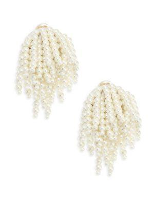 Oscar De La Renta Faux Pearl Tassel Clip-On Earrings In White