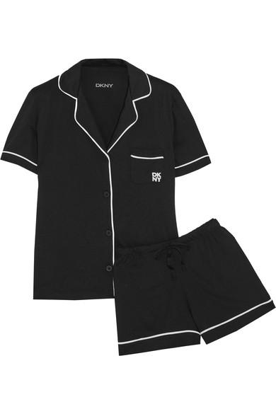 Dkny Woman Signature Cotton-Blend Jersey Pajama Set Black